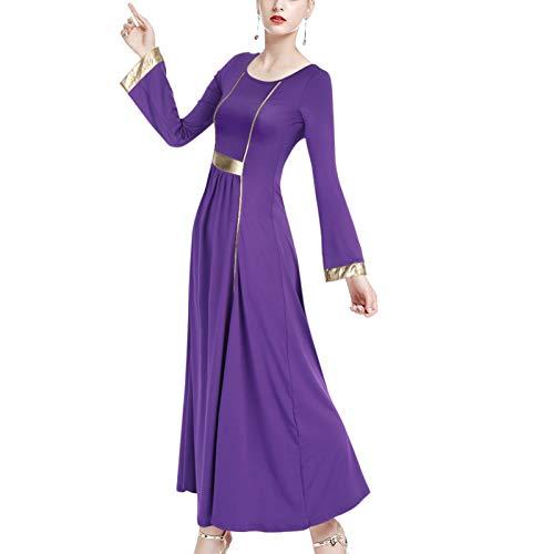 keephen Alabanza Vestido de Baile para Mujer - Elegante Metlico Patchwork Litrgico Iglesia Bailando Vestido Manga Larga Cintura Alta Plisado Adoracin Maxi Vestido Praisewear
