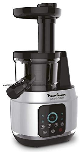 Moulinex Juice and Clean Licuadora De Prensado En Frío, 150 W, 0.8 litros, Plástico/Acero Inoxidable, Gris/Negro