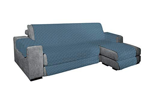 KasaShop Funda de sofá con chaise longue acolchada reversible para chaise longue tanto derecha como izquierda, asiento de 300 cm (azul, sofá de 4 plazas)