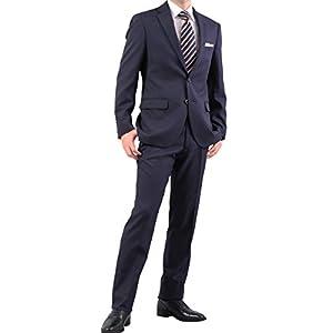 【KOKUBO】ストレッチスーツ メンズ[裾直しも受付中]ビジネススーツ 2つボタン 秋冬 洗えるノータックパンツ 濃紺・マイクロストライプ AB体6号 ポリエステル100% 程よくスリム