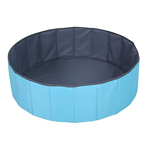 Kids Ball Pit Waterproof Folding Portable Baby Play Ball Pool(Balls Not Included)-Double Layer Oxford Cloth Not Need to Inflate Stable Ball Pit for Toddler (Blue, M-39.37in)