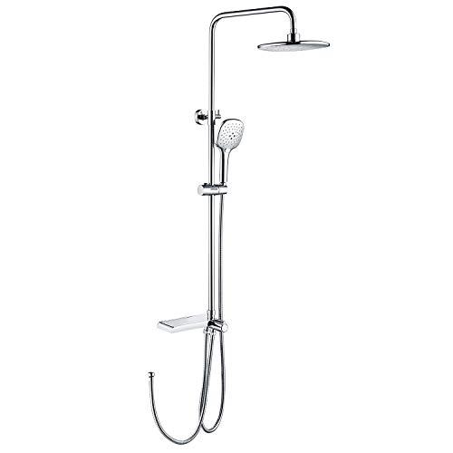 Lonheo Duschsystem ohne Armatur, Duscharmatur Duschset inkl verstellbare Duschstange, Duschkopf und Ablage