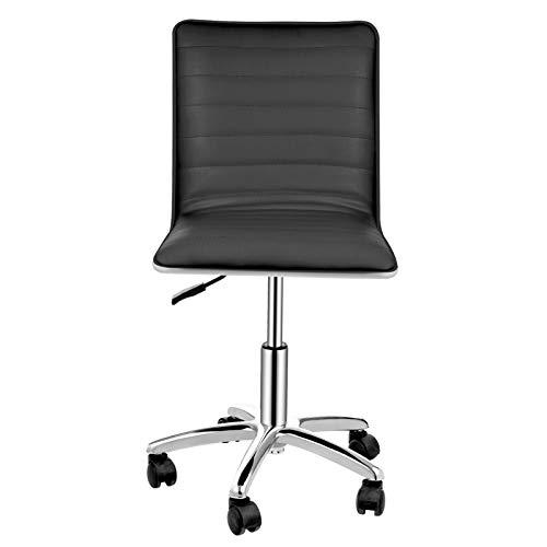 Silla de escritorio sin brazos de respaldo bajo, de piel sintética, moderna silla de oficina de piel sintética, ajustable, para el hogar, silla ejecutiva/escritorio/silla de tarea