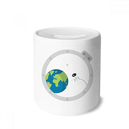DIYthinker Universum Und Alien aus dem Fenster Spardose Sparkassen Keramik Münzfach 3.5 Zoll in Height, 3.1 Zoll in Duruchmesser Mehrfarbig