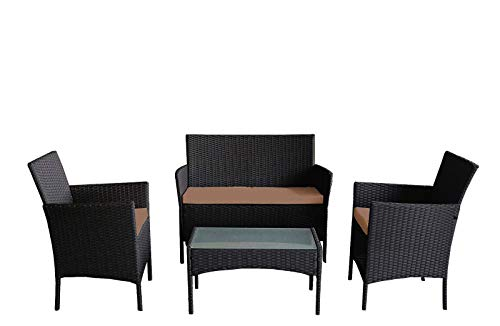 Buyer Empire Rattan Garden Furniture Set Heavy Duty Glass Coffee Table Chair Sofa 4 Piece Family lawn Indoor/Outdoor Lounge, Poolside, Garden, Balcony Conservatory Furniture (Grey)
