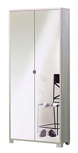 Mobile Porta Zapatos de Olmo Claro con puertas de espejo–Capacidad 20pares