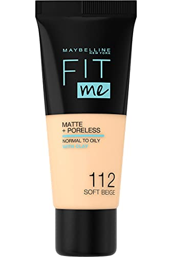 Maybelline New York Fit Me Matte+Poreless matujący podkład dla skóry mieszanej i tłustej, fluid z glinką kosmetyczną, naturalny mat bez świecenia, 112 Soft Beige, 30 ml