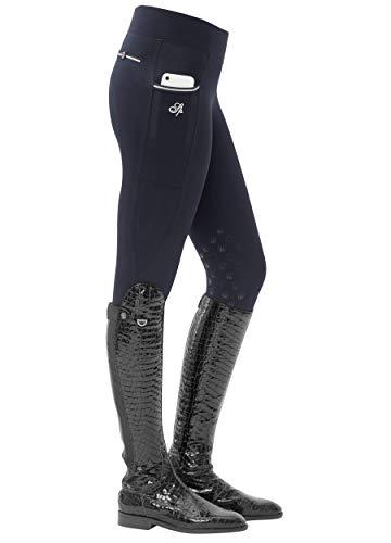 SPOOKS Damen Reitleggins Reithose Kniebesatz, Damenreithose Reithosen Turnierreithose Kniebesatzreithose - Sanne Knee Grip Leggins Navy XXS