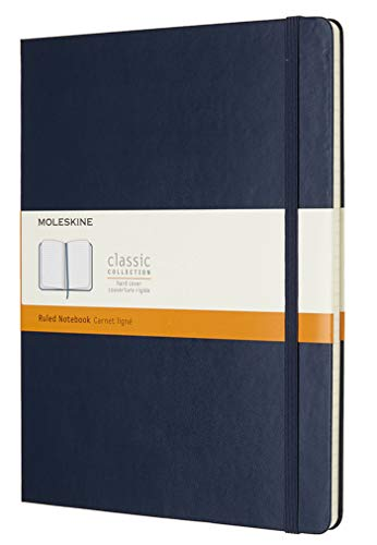 Moleskine - Cuaderno Clásico con Hojas Rayadas, Tapa Dura y Cierre Elástico, Color Azul Zafiro, Tamaño Extra Grande 19 x 25 cm, 192 Hojas