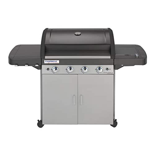 Campingaz 4 Series Classic LS Gas BBQ 4 Burner Gas Barbecue Grill 12.8 KW Power Instaclean Easy Cleaning System Cast Iron Grid and Griddle with Side Burner, Black/Silver