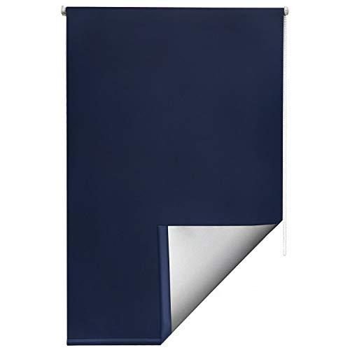 Sol Royal Thermorollo SolReflect T42 Verdunkelungsrollo 110x160 Klemmfix Rollos für Fenster ohne Bohren Silberbeschichtung Blau