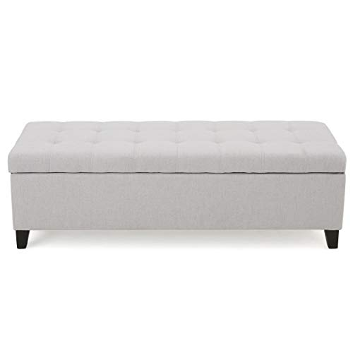 Christopher Knight Home Mission Fabric Storage Ottoman, Light Grey