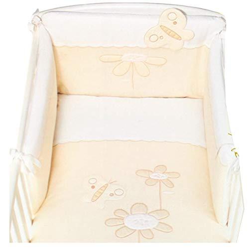 Picci Parure de lit 3 pièces Mod. 14 Trésor crème avec ciel de lit, parure de lit et tour de lit Blanc