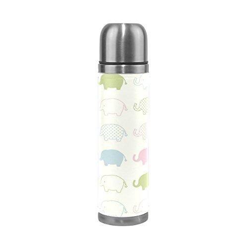 Ffy Go Travel Mug, imprimé éléphant personnalisé Thermos en acier inoxydable LeakProof Thermos isotherme extérieur Cuir pour filles garçons 500 ml