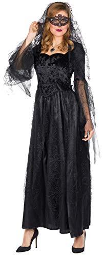 Rubie's 13330-44 Braut langes schwarzes Brautkleid Größe 44 Damen Halloween Untote Undead Horror, Multi-Colored