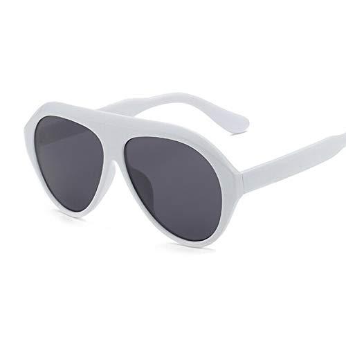 Sunglasses Vintage Sonnenbrille Frau Retro Flat Top Gradient Shield Schwarz Sonnenbrille Weibliche Pilotin Designer Übergroße Brille Whitegray
