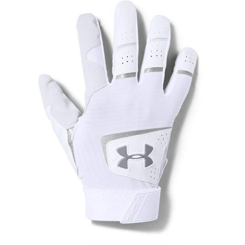Under Armour Men's Clean Up 19 Baseball Gloves , White (101)/Steel , Large
