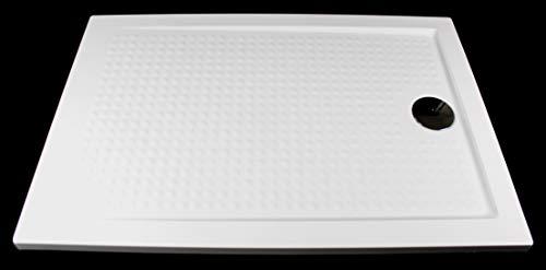 Art-of-Baan®- Superflache Duschtasse Duschwanne 80 x 100 Komplett Set kratzfest und rutschfest Antirutsch Weiß Hochglanz Höhe 3,5 cm inkl. Ablaufgarnitur