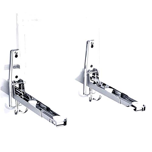 AWADUO Stainless Steel Microwave Oven Rack Retrackable Foldable Microwave Oven Wall Mounted Stand Holder Rack Bracket With Two Hooks