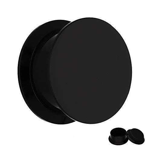 Treuheld® | 6mm Ohr Plug in Schwarz | Acryl/Kunststoff | Gewinde - Schraubverschluss | Classic Flesh Tunnel Plug | Hochwertig und Hautfreundlich