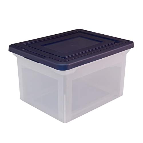 Office Depot Stackable File Tote Box, Letter/Legal Size, 10 13/16in.H x 14 1/8in.W x 18in.D, Blue/Clear, 170007