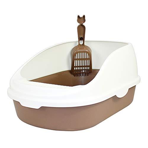 DZL Gatos Aseo Arenero Abierto para Mascotas Gatos 56 * 39 * 26cm Bandeja Sanitaria Plástica con Pala Bandeja Arena para Gatos Aseo Mascotas (Morado)