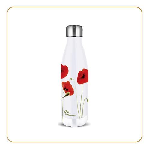 LITTLE BALANCE 8437, Gourde Inox 500 ml, Thermos réutilisable, garde au chaud 12h et au froid 24h, bouteille isotherme sans BPA, Facile à nettoyer, Coquelicots