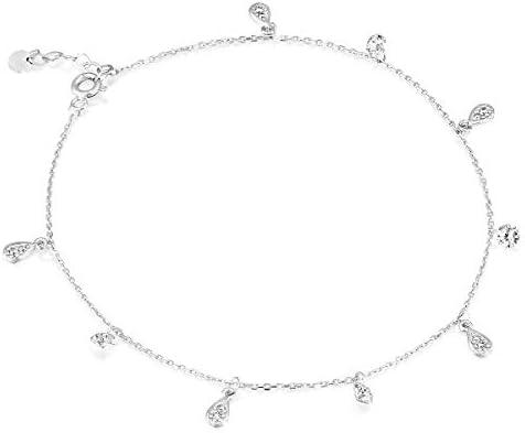 14k White Gold Anklet Bracelet With Round & Drops Zircon Gemstones - Multiple Charm Adjustable Foot Bracelet - Elegant Birthday Gift (1.9 g, 8.26 in, plus 2 cm)