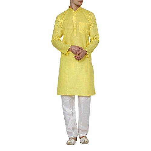Royal Kurta Men's Linen Cotton Kurta Pyjama Set 44 Yellow