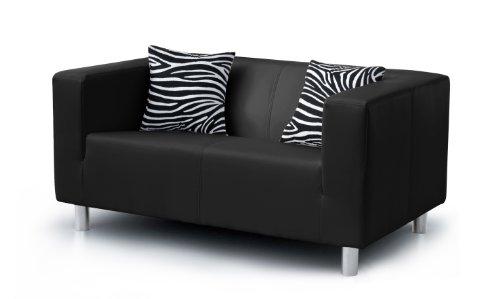 Collection AB 2-Sitzer Sofa Cube 85 x 135 x 65 cm, PU, schwarz