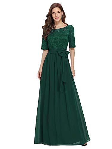 Ever-Pretty A-línea Encaje Talla Grande Vestido de Fiesta Cuello Redondo Largo para Mujer Verde Oscuro 52