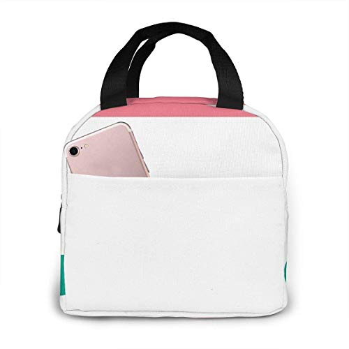 Peek a Boo Cat Pink and Green Portable Insulated Lunch Bag B