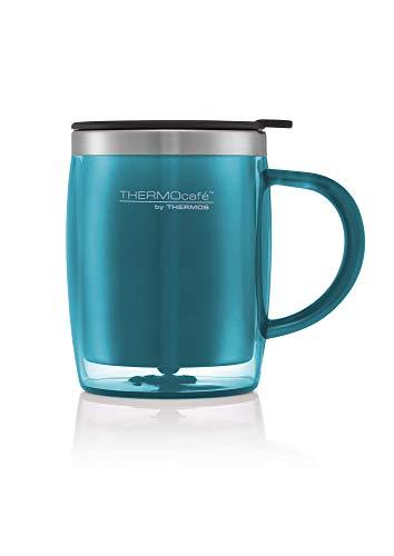 ThermoCafe Plastique et Acier Inoxydable Desk/Mug de Voyage, 450 ML, Plastique, Bleu Lagon, 13x9x12 cm