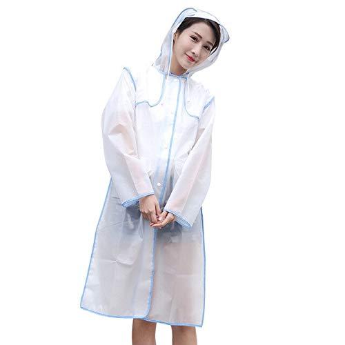NJSDDB paraplu Vrouwen Regenjas en Waterdichte Hooded EVA Regenjas Poncho Frosted Transparant Regenkleding Wandelen Regenjas en Vrouwen regenjas L Blauw