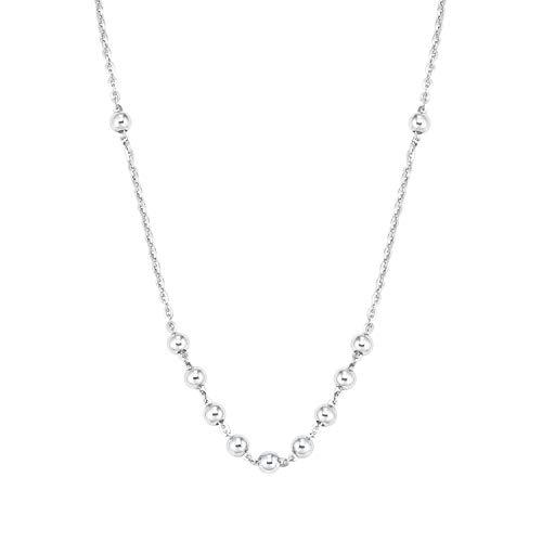 amor Halskette für Damen mit Kügelchen-Anhängern, glänzendes Silber 925
