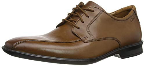 Clarks Bensley Run, Zapatos de Cordones Derby para Hombre, Marrón (Dark Tan Lea Dark Tan Lea), 44 EU