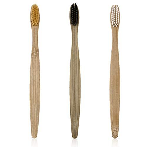 3pcs / set Cepillo de dientes de madera respetuoso con el medio ambiente Cepillo de dientes de bambú Fibra de bambú suave Mango de madera Bajo en carbono ecológico - Negro/Blanco/Amarillo
