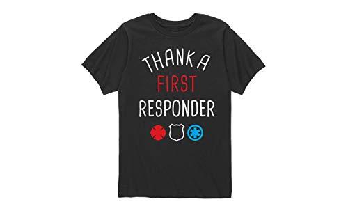 Instant Message Thank A First Responder - Toddler Short Sleeve T-Shirt Black