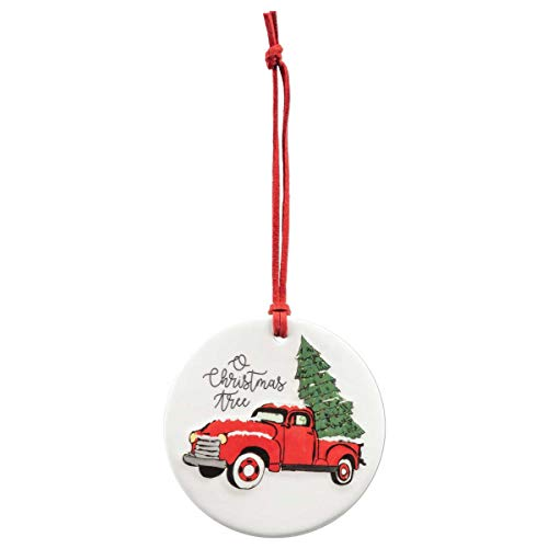Brownlow Gifts Hand-Drawn Porcelain Ornament, 3.5-Inches, O Christmas Tree Red Truck
