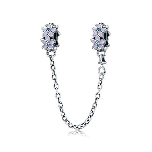 Ciondolo in argento sterling 925 con perline in materiali sicuri, per braccialetti Pandora da donna, stile europeo. e 925, colore: Catena di sicurezza con fiori viola, cod. YS-C011