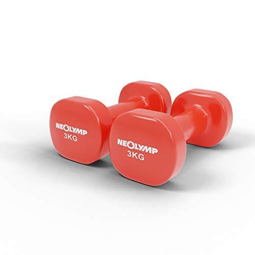 NEOLYMP Neopren Hanteln / 2er Kurzhanteln Set/Hanteln für Männer und Frauen/Hantelset/Gewichte (rot, 1 Kg)