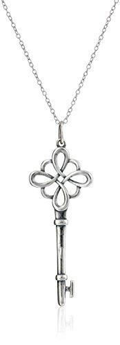 925 Sterling Silver Oxidized Celtic Knot Key Pendant Necklace, 18'