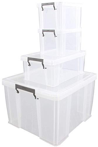 Whitefurze Allstore 48L Pack Promo - Set di 4 contenitori in plastica trasparente, 48L/10L/2x5L, 49 x 44 x 32 cm