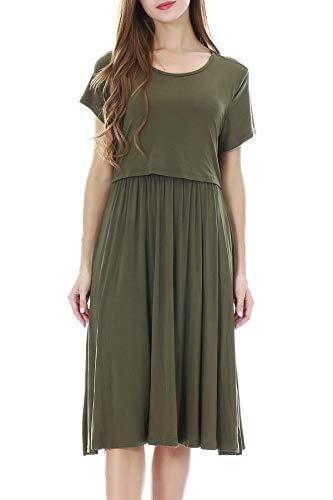 Smallshow Damska luźna sukienka do karmienia z krótkim rękawem do karmienia piersią