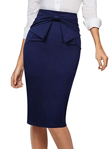 VFSHOW Womens Pleated Bow High Waist Slim Work Office Business Pencil Skirt 865 DBLU L Navy Blue