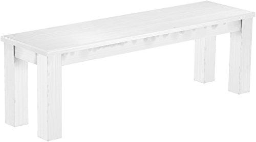 Brasilmöbel Sitzbank 140 cm Rio Classico Schnee Weiss Pinie Massivholz Esszimmerbank Küchenbank Holzbank - Größe und Farbe wählbar