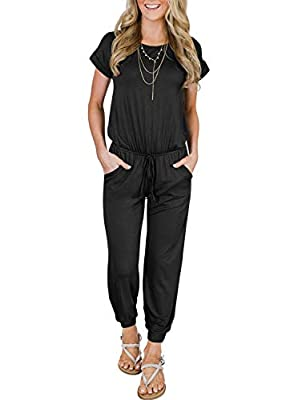 Women's Summer Casual Short Sleeve Loose Elastic Waist Stretchy Long Harem Pants Jumpsuit Romper with Pockets Black Medium from