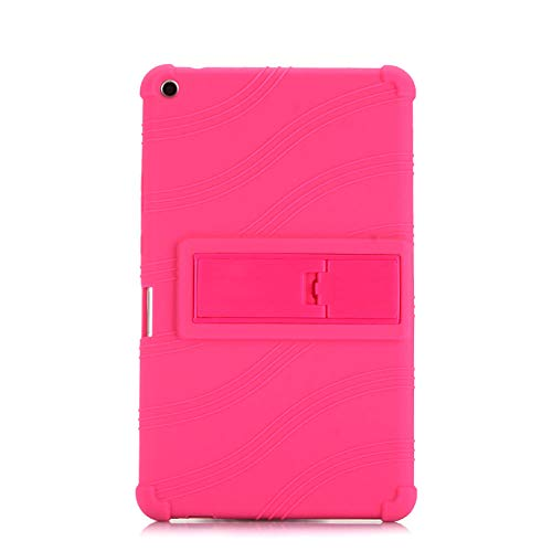 Funda de silicona a prueba de golpes para Huawei Mediapad T3 8.0 KOB-L09 / W09 Honor Play Pad 2 8 pulgadas Tablet Case Cover Cover Rosa Rojo