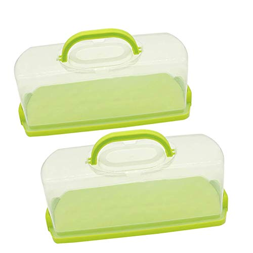 2 Pack Plastic 13 inch Rectangular Loaf Cake Storage Container,Bread Keeper for Carrying and Storing Banana Bread,Pumpkin Bread,Quick Breads (Green)