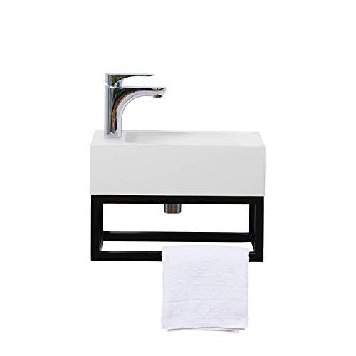 Stilform Gäste WC Waschbecken 40x22 cm Soho Industrial Design aus Mineralguss mit Metallgestell Schwarz Matt mit Hahnloch
